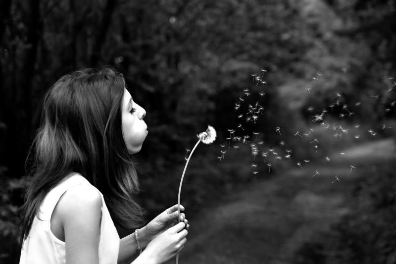 Desejo de Engravidar/Tentante: Mulher soprando flor Dente-de-Leão
